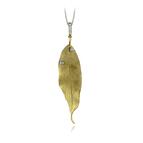 18K Yellow Gold Leaf & Diamond Necklace