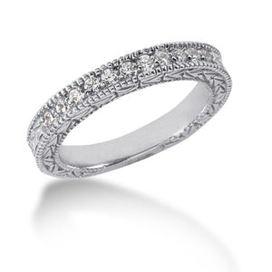 14K White Gold Milgrain Diamond Ring