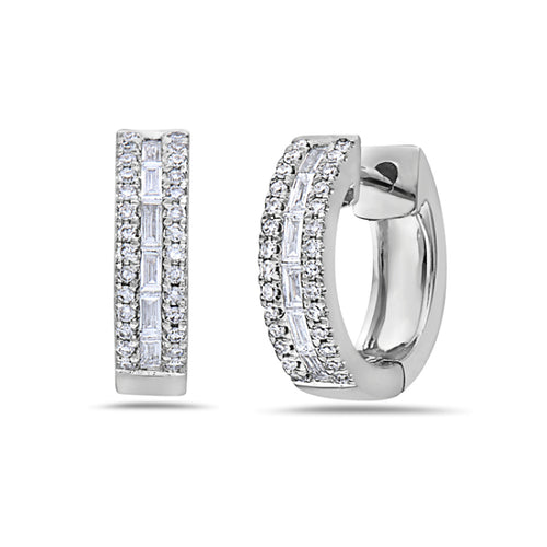 14K White Gold Baguette & Round Diamond Huggie Earrings