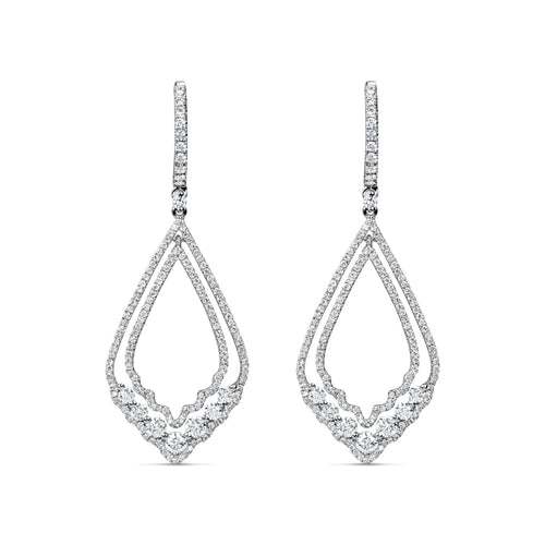 18K White Gold Diamond Chandelier Drop Earrings