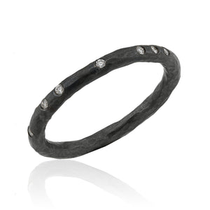 Lika Behar Oxidized Sterling Silver Band with Diamond Accents