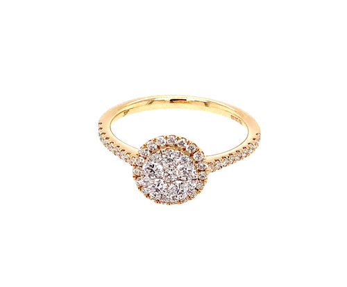 18K Yellow Gold Diamond Cluster Ring
