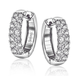 18K White Gold Hoop Diamond Earrings 1.05ct Total Diamond Weight