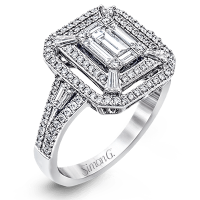 Simon G. 18K White Gold Mosaic Emerald Cut Diamond Ring