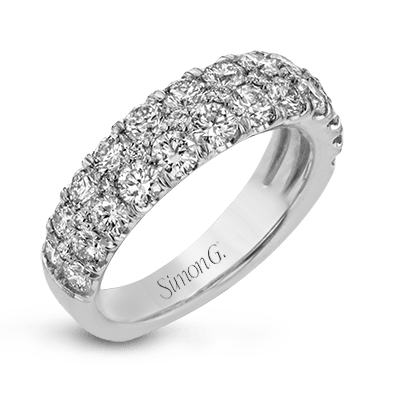 18K White Gold Two Row Diamond Anniversary Ring