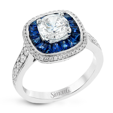 Simon G. 18K White Gold Sapphire & Diamond Ring