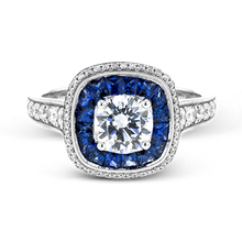 Load image into Gallery viewer, Simon G. 18K White Gold Sapphire & Diamond Ring