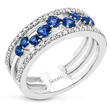 18K White Gold Scatter Set Sapphire & Diamond Wide Band Ring