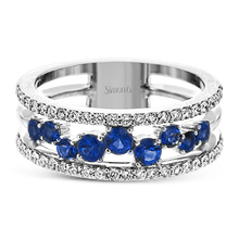 Load image into Gallery viewer, 18K White Gold Scatter Set Sapphire & Diamond Wide Band Ring