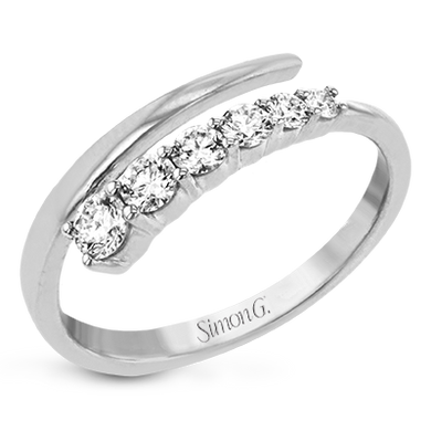 Simon G. 18K White Gold Diamond Graduated Bypass Ring