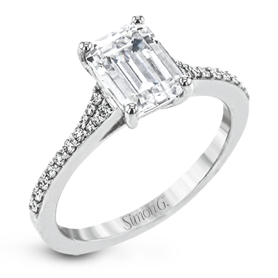 Simon G. 18K White Gold Emerald Cut Diamond Engagement Ring