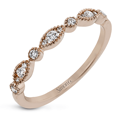 18K Rose Gold Marquise & Round Shape Stacking Ring