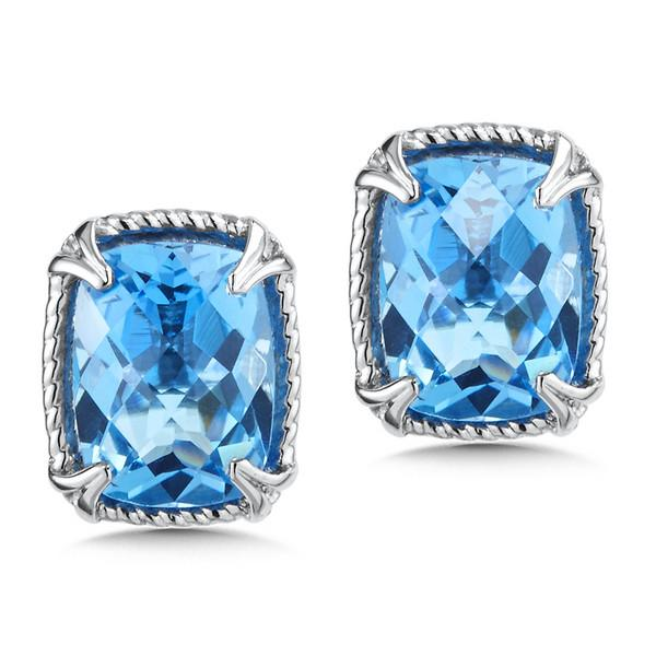 Colore Sterling Silver Cushion Shaped Blue Topaz Stud Earrings