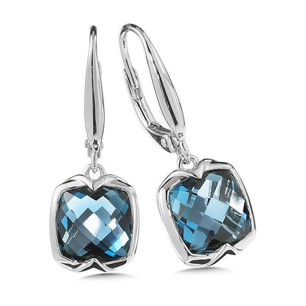Colore Sterling Silver Checkerboard Cut London Blue Topaz Earring