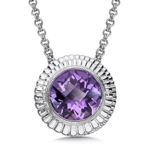 Colore Sterling Silver Necklace With Amethyst Center