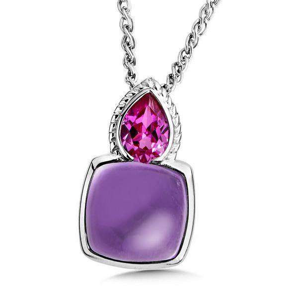 Colore Sterling Silver Created Pink Sapphire & Genuine Amethyst Cabachon Necklace