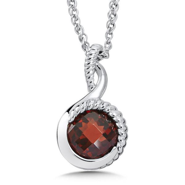 Colore Sterling Silver Red Garnet Pendant