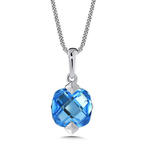 Colore Sterling Silver Cushion Blue Topaz Pendant