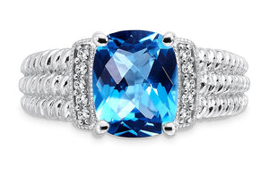 Colore  Sterling Silver Cushion Cut Blue Topaz And Diamond Fashion Ring