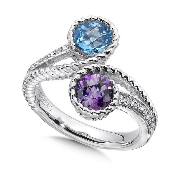 Colore Sterling Silver Bypass Ring With Round Amethyst And Blue Topaz