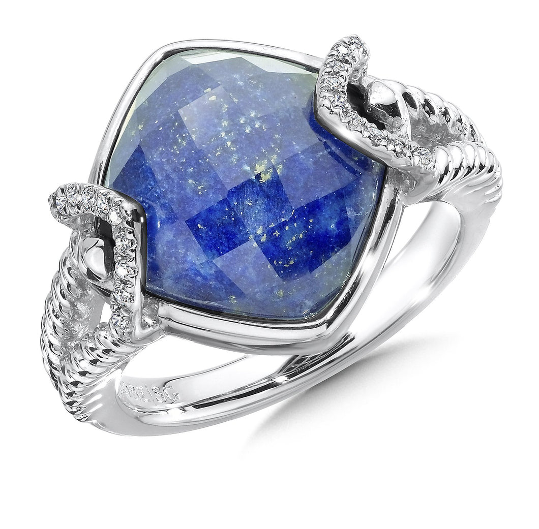 Colore Sterling Silver Lapis Doublet Ring With Diamond Accents