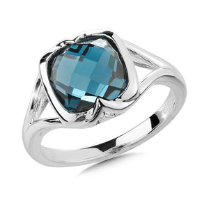 Colore Sterling Silver London Blue Topaz Ring Cushion Checkerboard Center