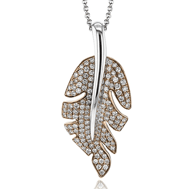18K Rose & White Gold Feather Design Diamond Necklace