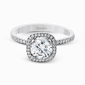 Simon G. 18K White Gold Cushion Halo Diamond Engagement Ring