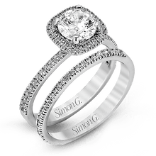 Load image into Gallery viewer, Simon G. 18K White Gold Cushion Halo Diamond Engagement Ring