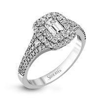 Load image into Gallery viewer, Simon G. 18K White Gold Emerald Cut Diamond Engagement Ring 1.02 Carat