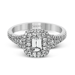 Simon G. 18K White Gold Emerald Cut Diamond Engagement Ring 1.02 Carat