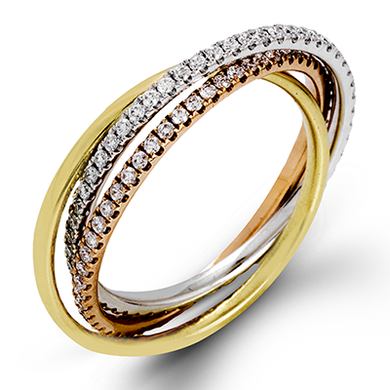 18K Gold Three Row Rolling Diamond Ring