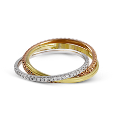 Load image into Gallery viewer, 18K Gold Three Row Rolling Diamond Ring