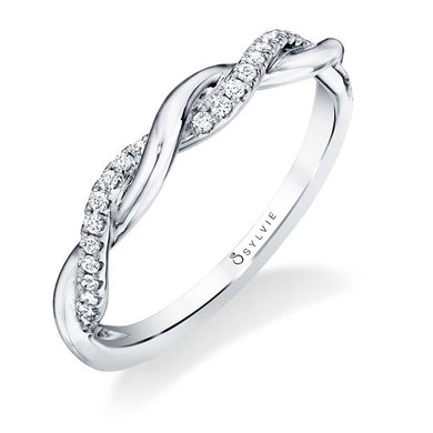 Sylvie 14K White Gold Modern Spiral Wedding Band