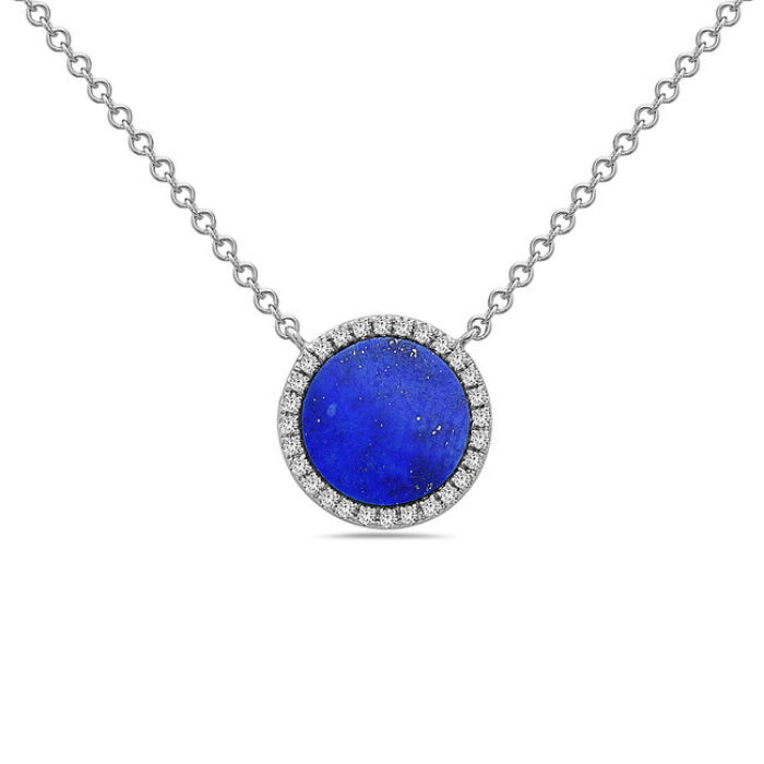 14K White Gold Round Lapis & Diamond Necklace