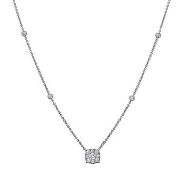 18K White Gold Pave Diamond Necklace