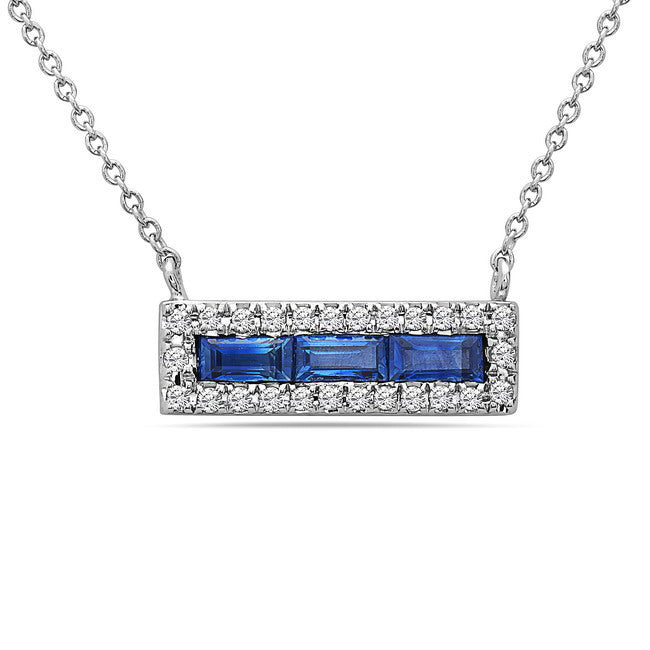 14K White Gold Sapphire & Diamond Bar Necklace; 18
