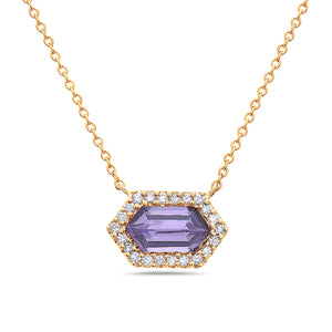 14K Yellow Gold Prism Cut Amethyst & Diamond Necklace