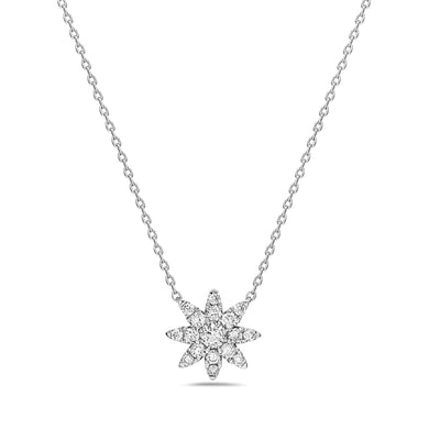 14K White Gold Diamond Starburst Necklace 1/4 Carat Total Diamond Weight