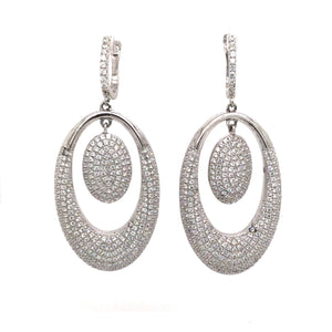 Sterling Silver Rhodium Plated Chandelier Earrings With Swarovski Crystals