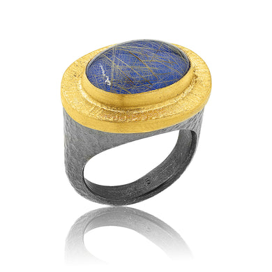 Lika Behar 24K Gold & Oxidized Sterling Silver Ring with Lapis & Rutilated Quartz Doublet