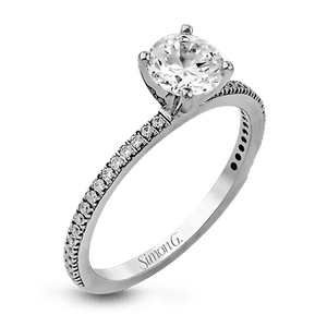 Simon G. 18K White Gold Round Diamond Engagement Ring
