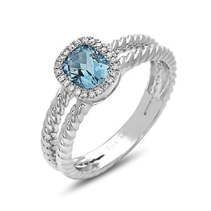 14K White Gold Blue Topaz & Diamond Braided Split Ring