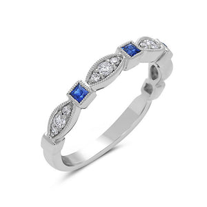 14K White Gold Sapphire & Diamond Stack Ring