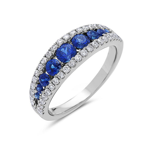 14K White Gold Sapphire & Diamond Three Row Ring