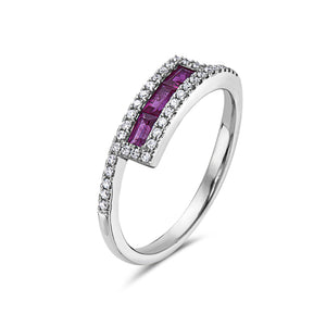 14K White Gold Diamond and Ruby Baguette Ring