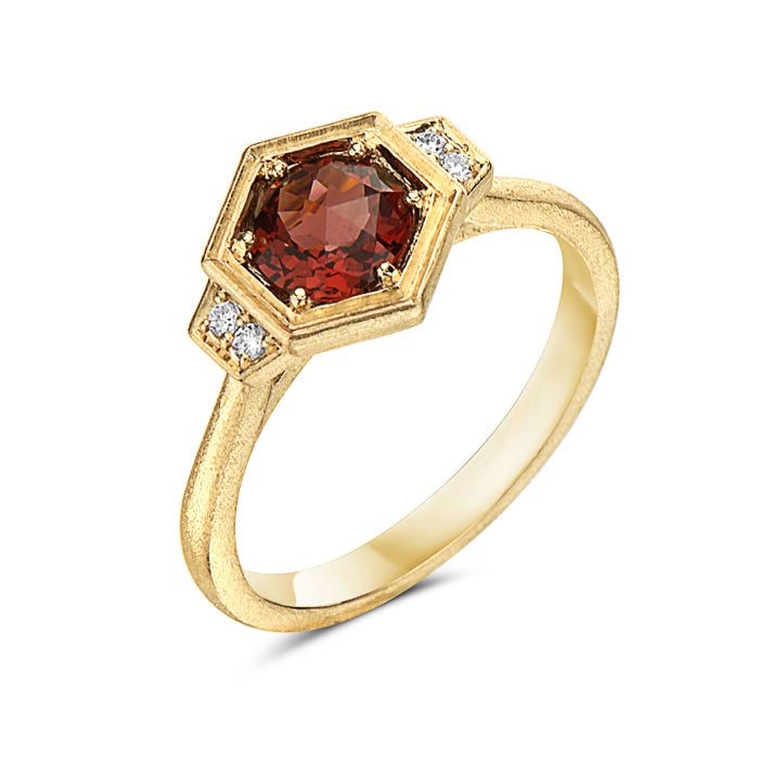 14K Yellow Gold Rhodolite Garnet & Diamond Ring