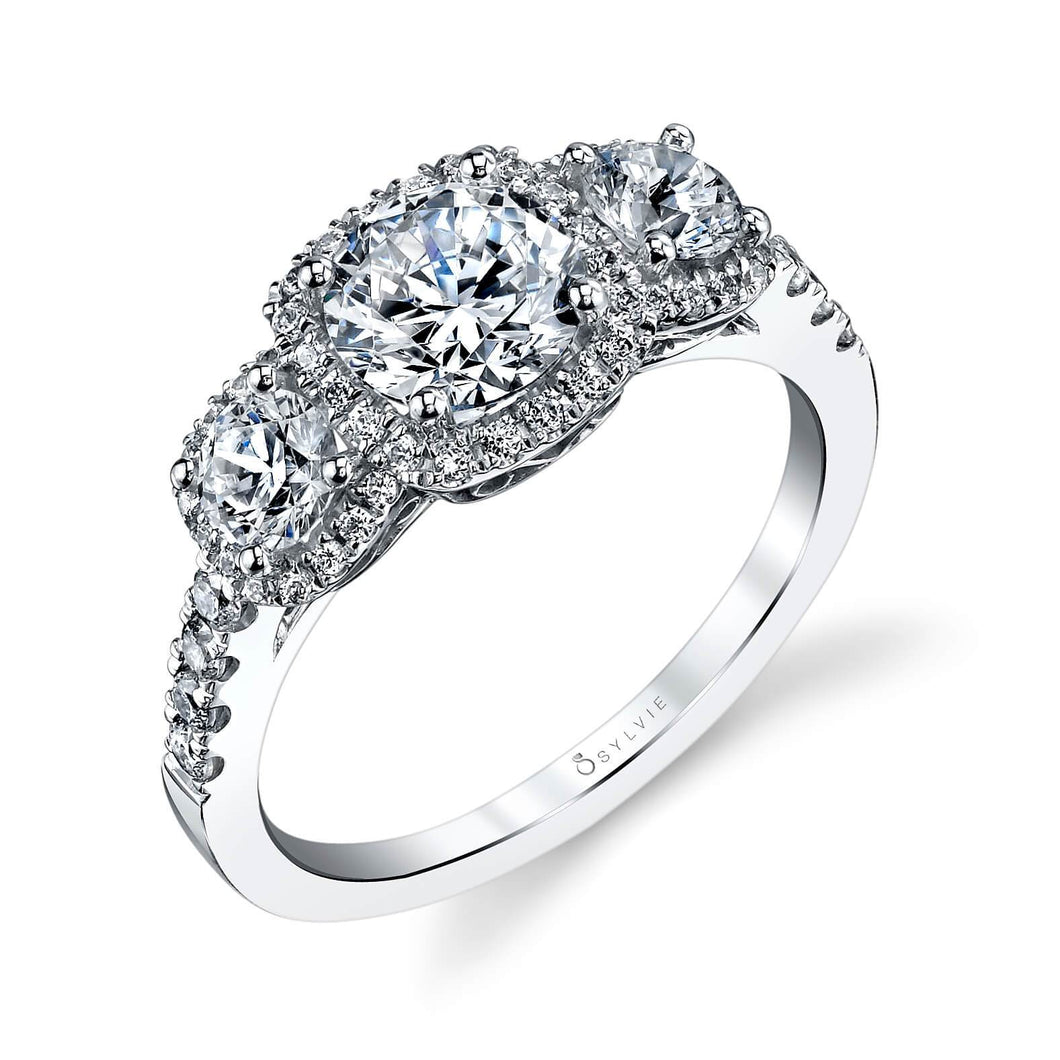Sylvie Penelope -Three Stone Cushion Shape Engagement Ring S1165S
