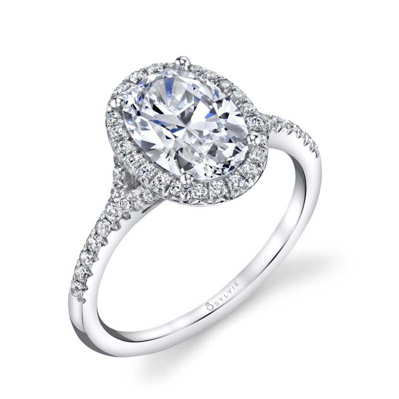 Sylvie Alexandra - Oval Engagement Ring with Halo S1814