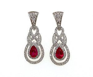 14K White Gold Ruby and Diamond Drop Earrings